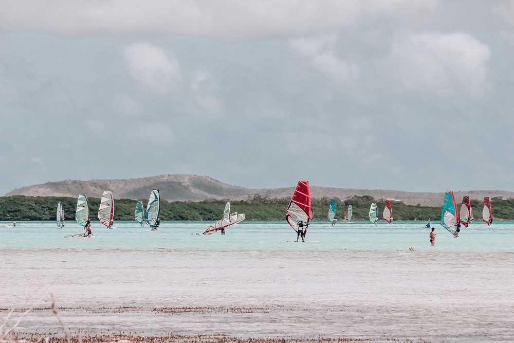 Lac Bay in Bonaire is perfect for windsurfing. Here you can find plenty of water activities and other things to do in Bonaire on a cruise or on a longer stay.