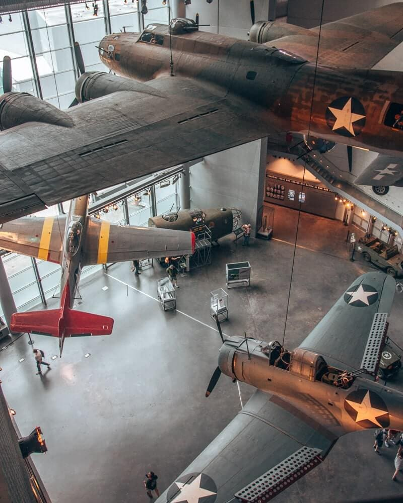 World War II airplanes in the National World War II Museum in New Orleans, Louisiana