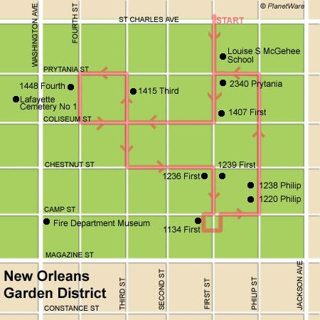Free Garden District walking tour map for New Orleans.