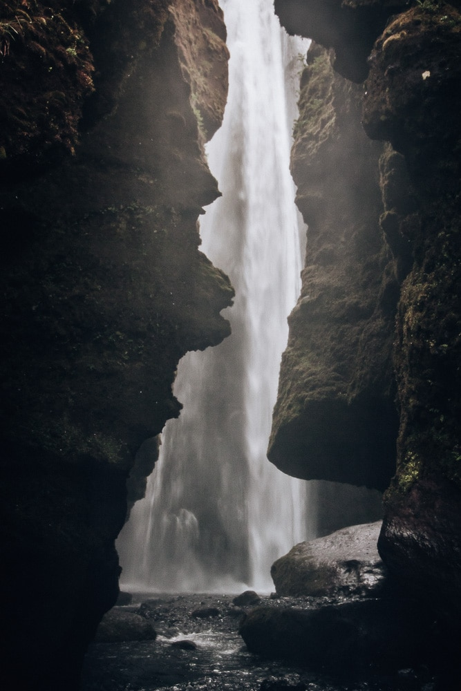 The canyon entrance to Glujfrabui waterfall in southern Iceland. Find the top 5 waterfalls in Iceland that you don't want to miss on a Ring Road road trip.