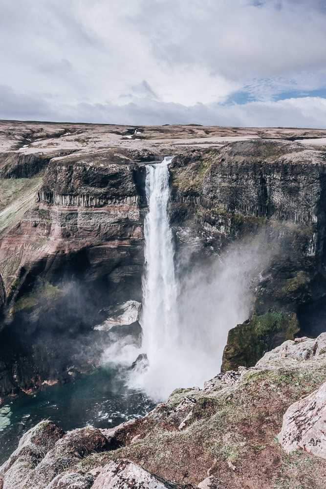 Haifoss waterfall in Iceland. Find the top 5 waterfalls in Iceland that you don't want to miss on a Ring Road road trip.