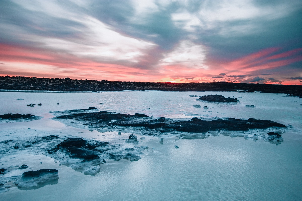 Sunrise at Blue Lagoon in Iceland in summer. Get a full guide to Iceland with this 6 day itinerary for summer in Iceland.