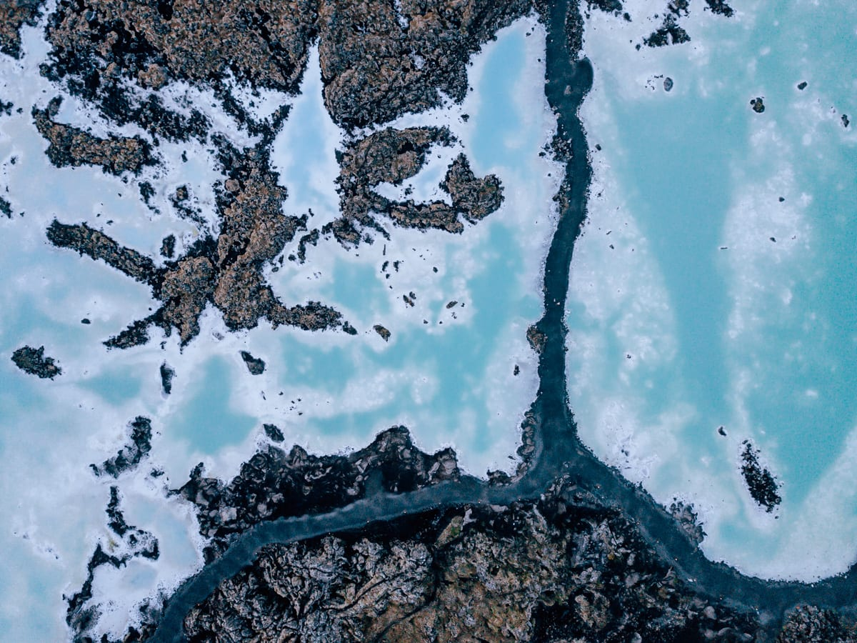 Drone shot of the free section of Blue Lagoon Reykjavik in Iceland. Get all the best Iceland travel tips in this guide to 6 days in Iceland.