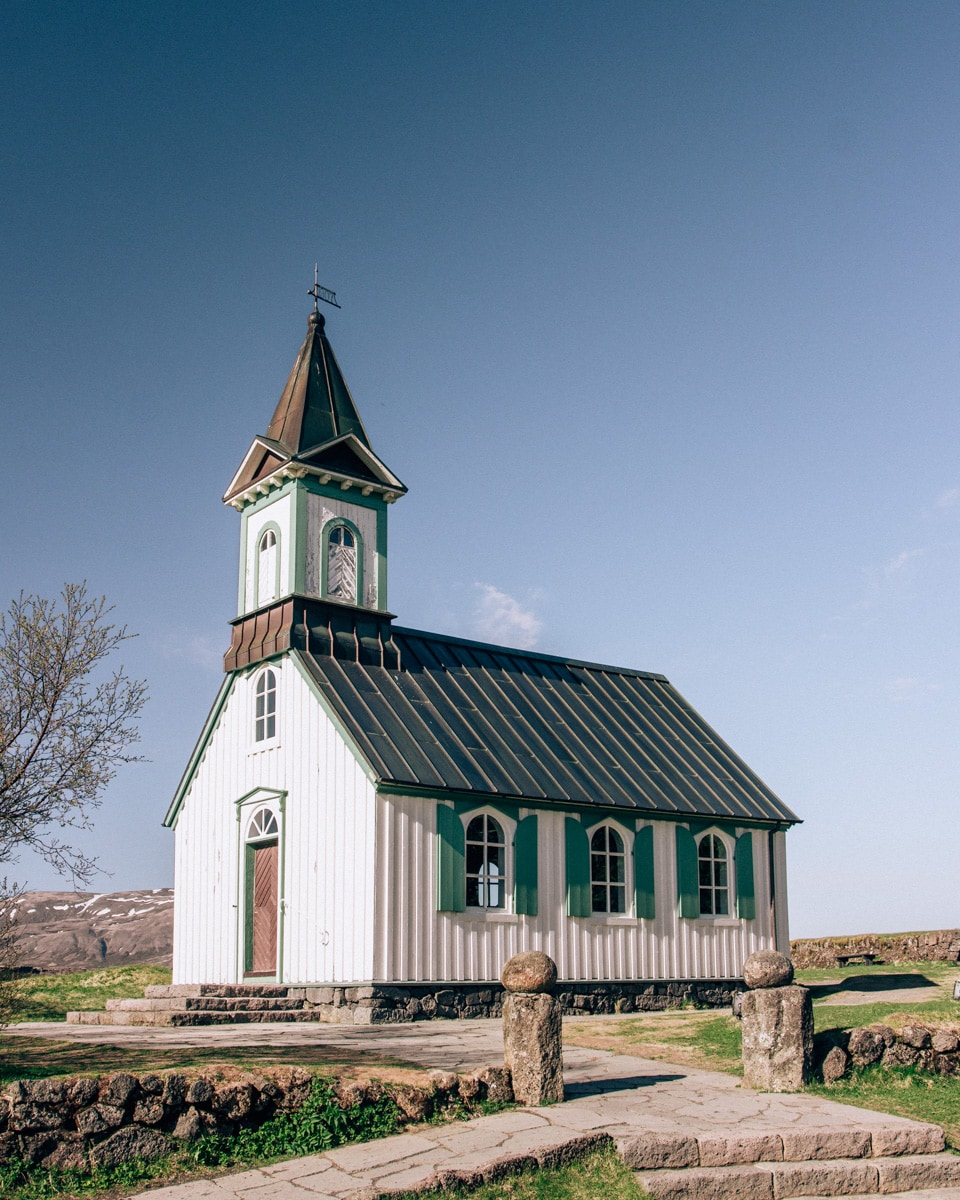 Thingvellir Church in Thingvellir National Park. Check out our perfect 6 day Iceland road trip itinerary here with a free map!