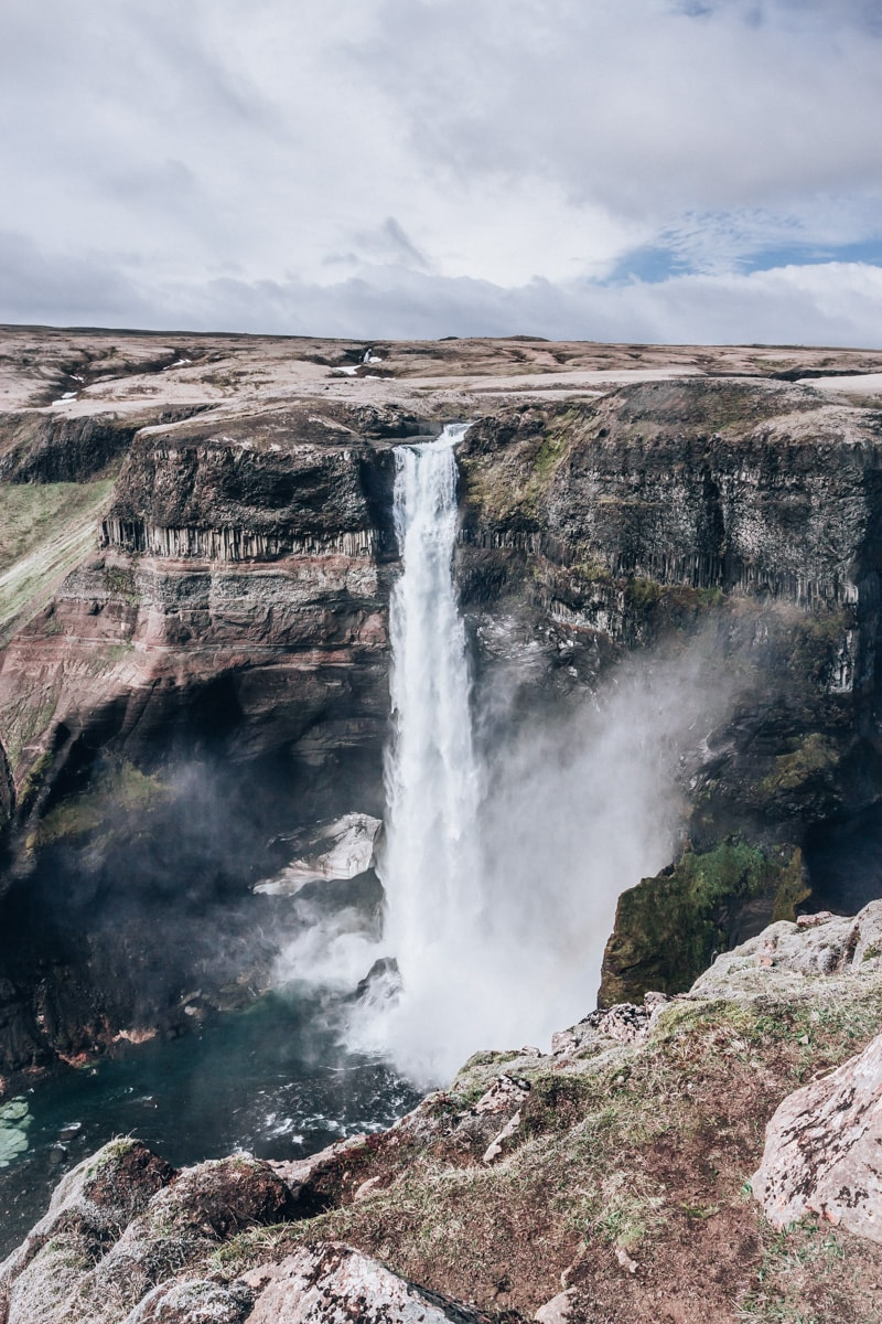 Haifoss waterfall in southern Iceland - one of the best waterfalls (and tallest) in Iceland. Click here for a full Ring Road 6 Day Iceland itinerary with a free map!