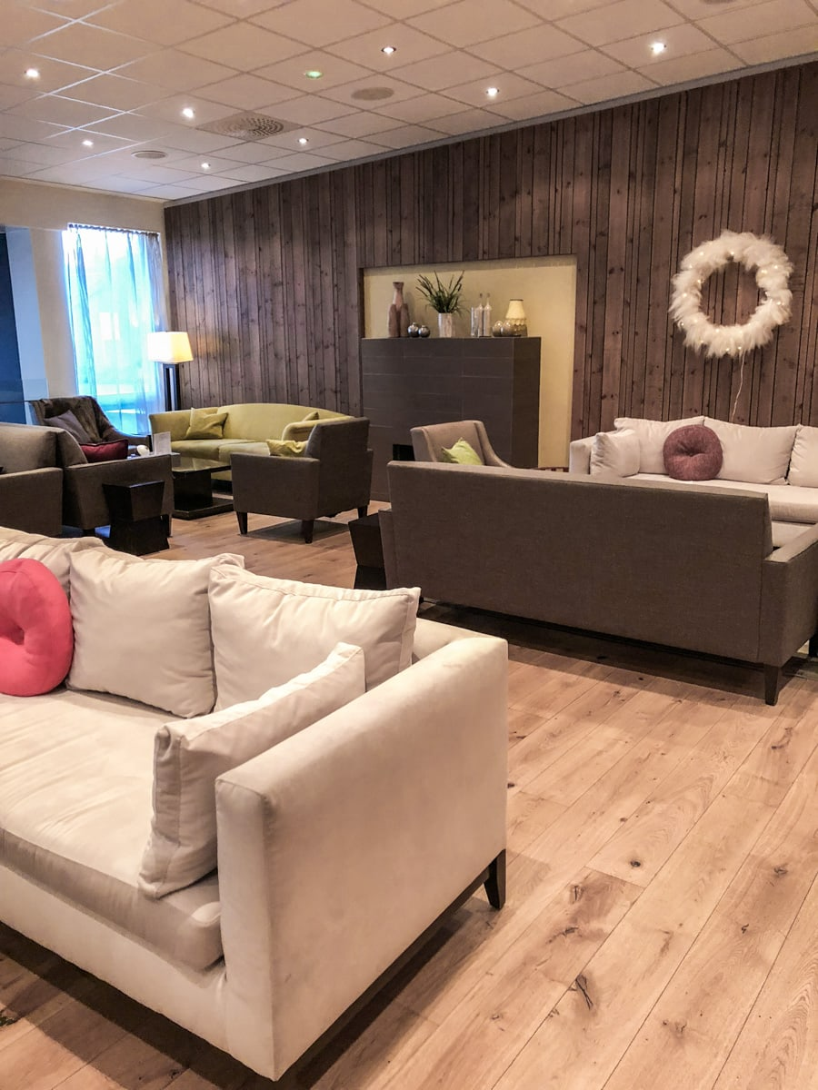Icelandair Hotel in Akureyri lobby. Check out our perfect 6 day itinerary for Ring Road in Iceland!