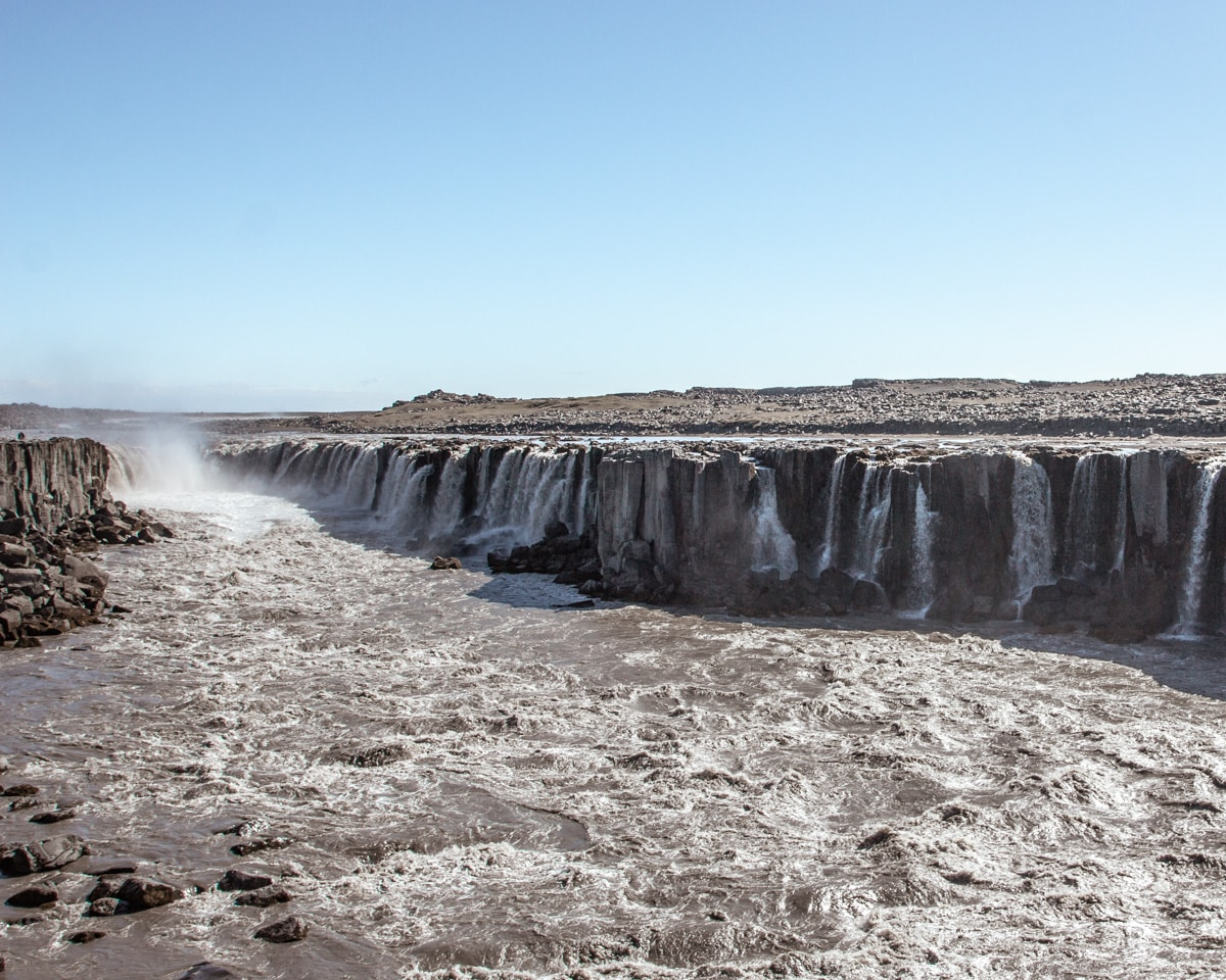 Selfoss waterfall in Iceland from the east side. Check out our perfect 6 day itinerary for Iceland in summer.