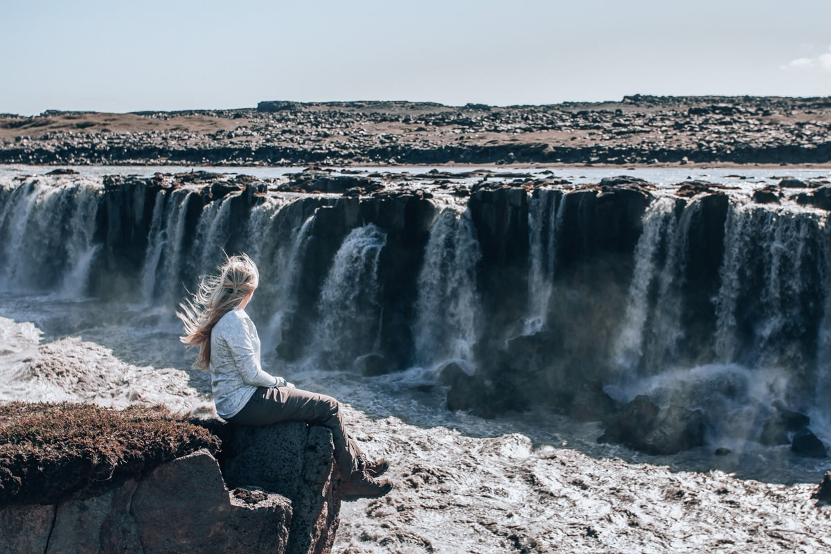Selfoss waterfall in Iceland from the east side. Check out our perfect 6 day itinerary for Ring Road in Iceland!