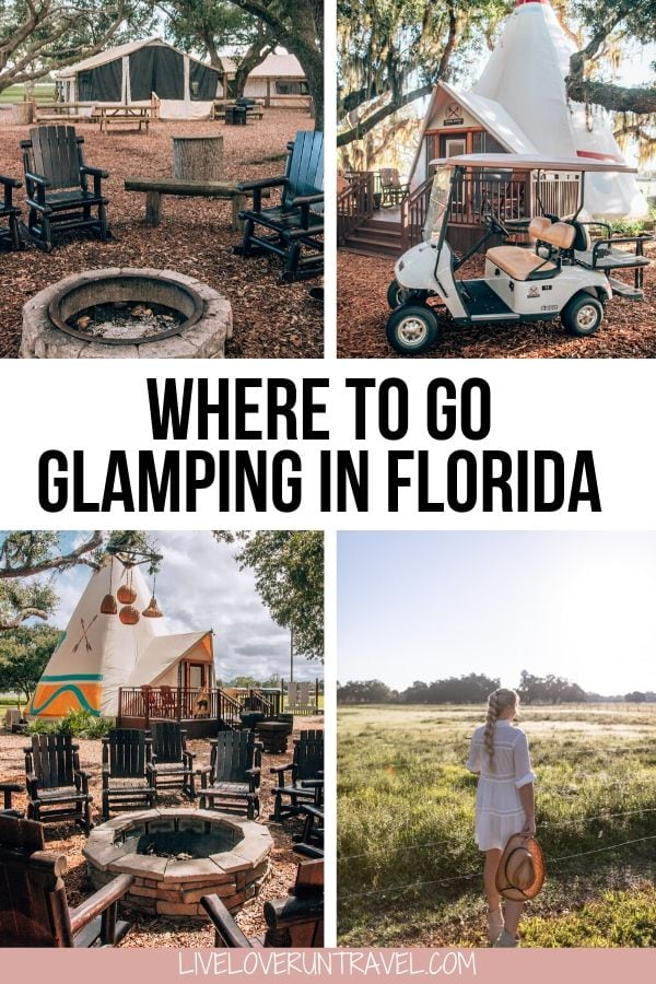 Glamping in Florida at a Florida dude ranch with glamping tents and glamping teepees