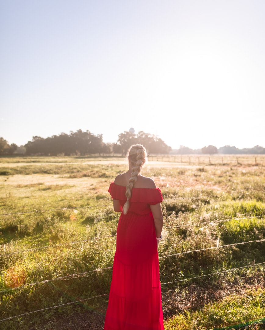 Woman standing in front of horse pasture in western inspired outfit with pull through braid and red off the shoulder dress.