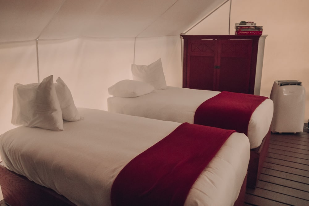Inside the glamping tents at Westgate River Ranch