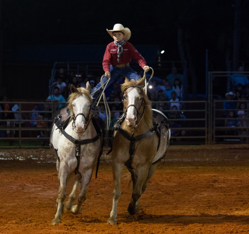 Trick riding at rodeo at Westgate River Ranch