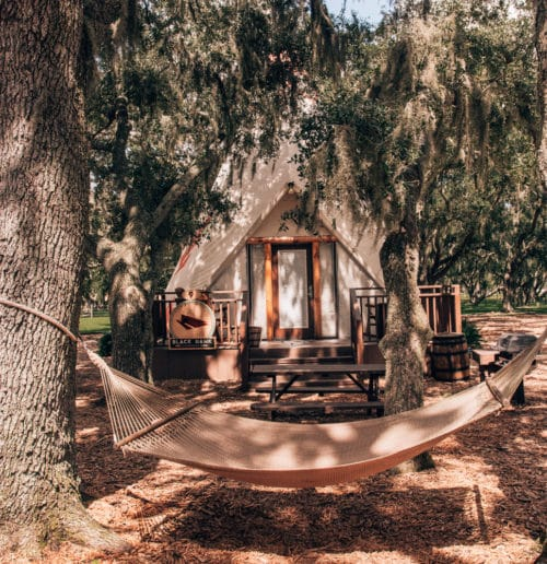 Luxury teepee at Westgate River Ranch. Find out more about glamping in Florida at Westgate River Ranch in the blog post!