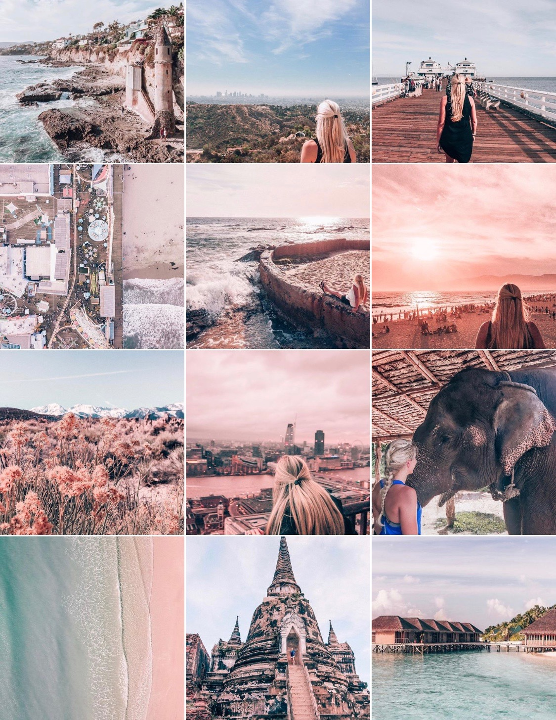 My Instagram feed after edits in Lightroom to make my feed cohesive. See how to grow your Instagram authentically on my blog post!