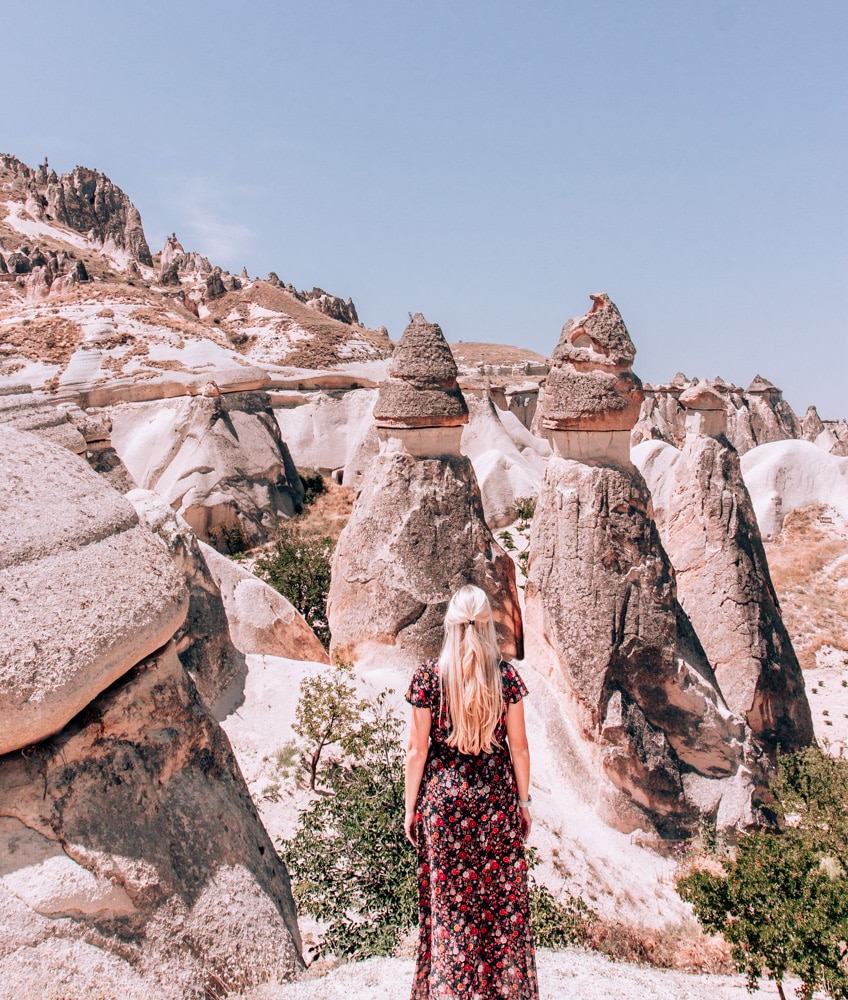 Fairy Chimney Valley or Pasabagi in Cappadocia. Check out our full 3 day itinerary for Cappadocia including the best things to do, places to stay, and locations for photos!