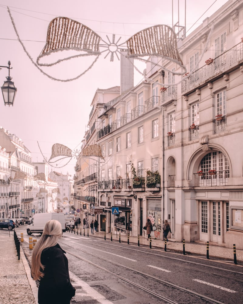 Christmas decorations in Lisbon, Portugal in Bairro Alto. Find the best places for Instagram photos in Lisbon, Portugal here with a free map!