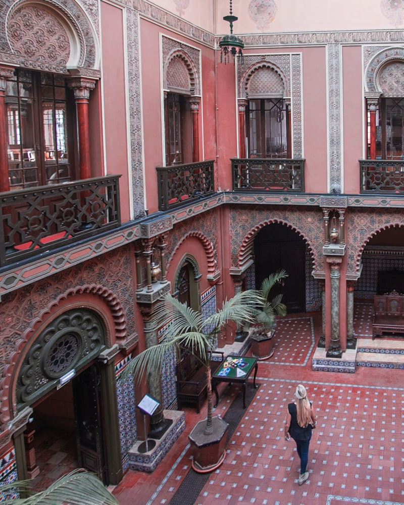 Courtyard area of Casa do Alentejo restaurant in Lisbon. Find the best places in Lisbon for Instagrammable photos and when to go to get them to yourself (plus a free map!)