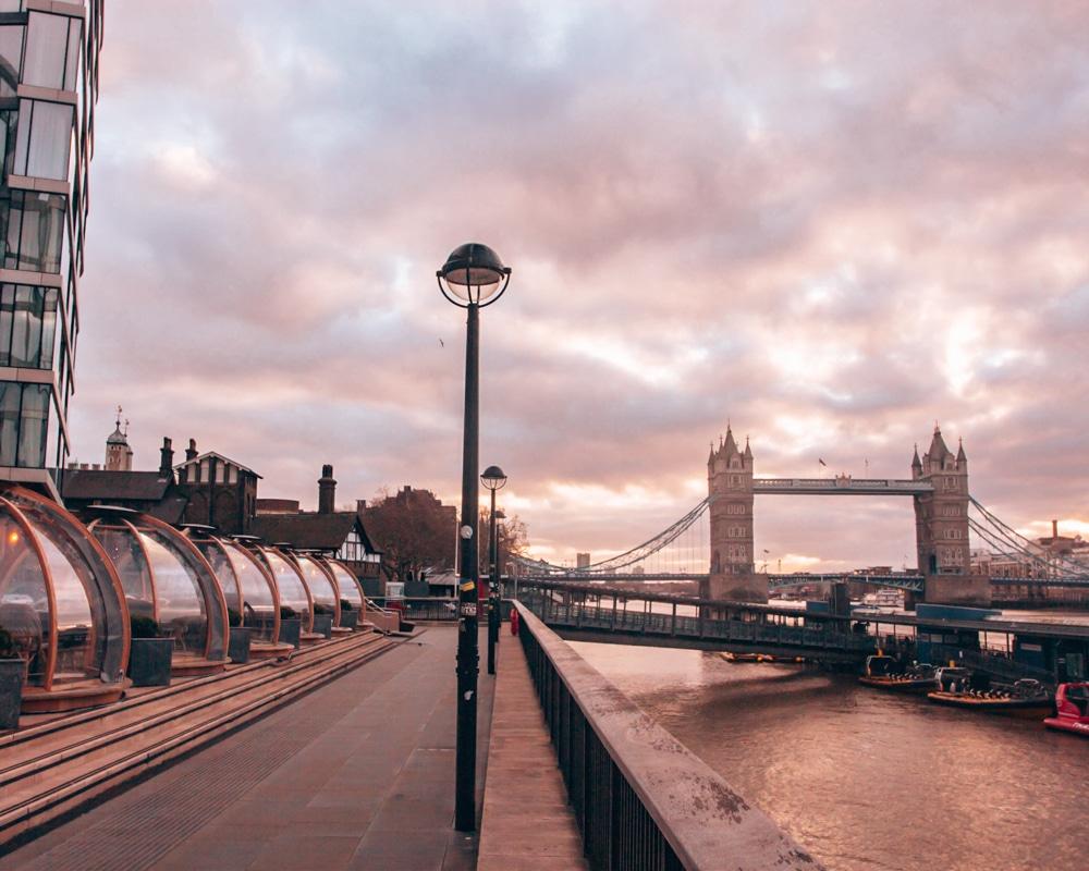 Sunrise at Coppa Club igloos by Tower Bridge