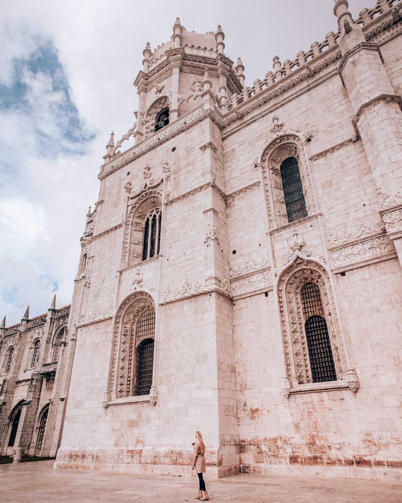 Outside of Jeronimo's Monastery in Belem. Find the best places in Lisbon for Instagrammable photos and when to go to get them to yourself!
