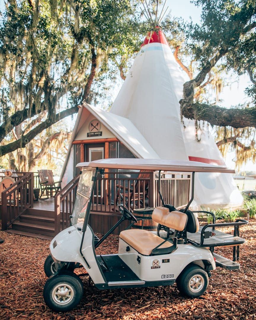 Glamping teepee and golf cart at Westgate River Ranch on a sponsored hotel stay