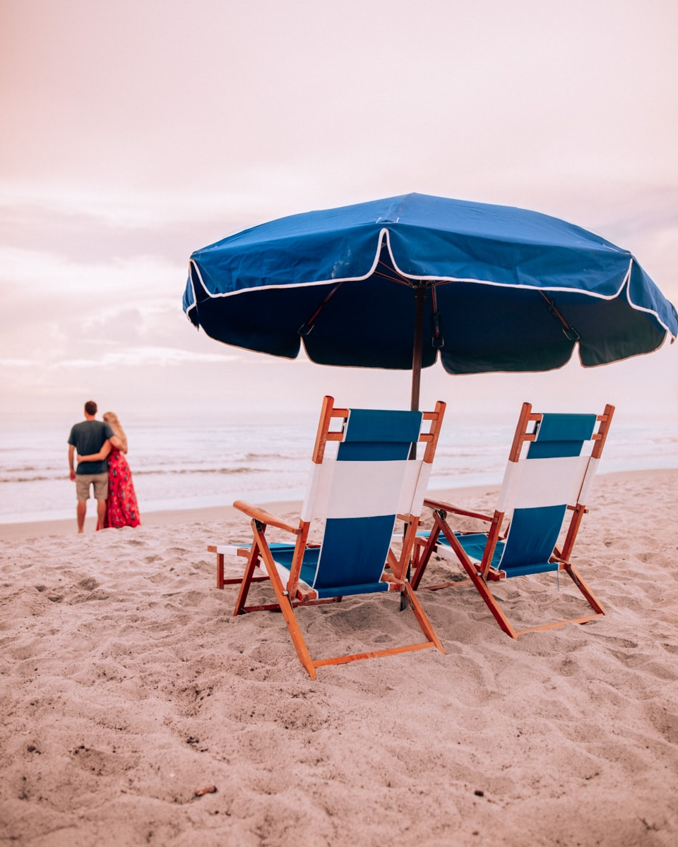 Our beach setup at Westgate Cocoa Beach Resort on a sponsored hotel stay