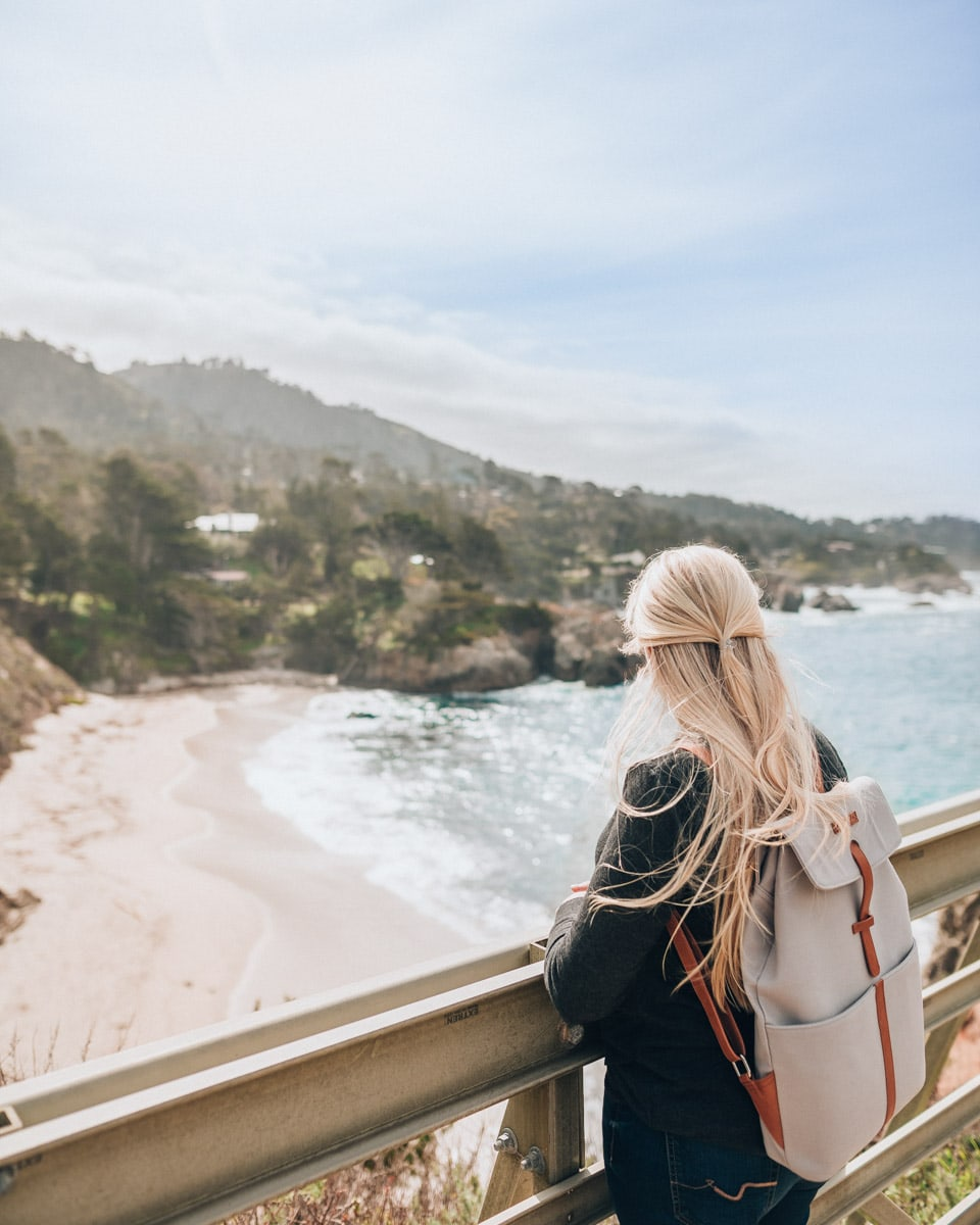 Wearing my Kapten & Son backpack on the coast of California as part of a brand collaboration