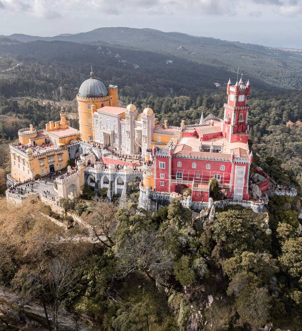 Drone shot from Pena Palace in Sintra, Portugal on a Sintra day trip