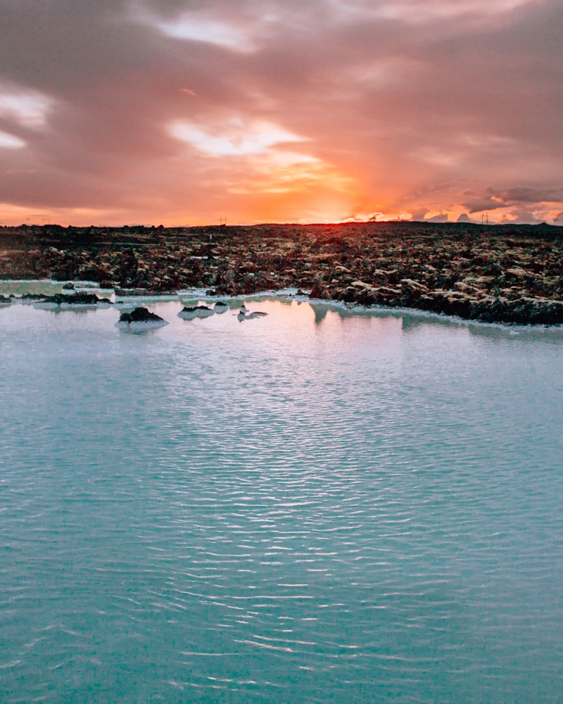 Sunrise over the Blue Lagoon in Iceland