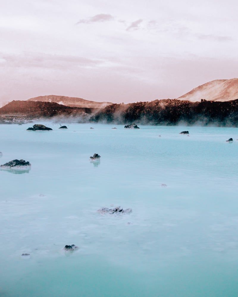 Steam rising off the Blue Lagoon Iceland at sunrise