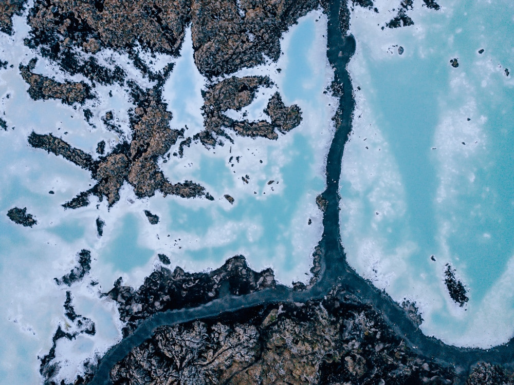 Drone shot of the Blue Lagoon in Iceland
