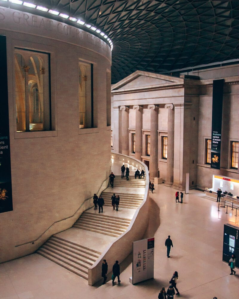 Main entrance area at the British Museum in London. Check out this full guide to the best things to see in London in 3 days in winter.