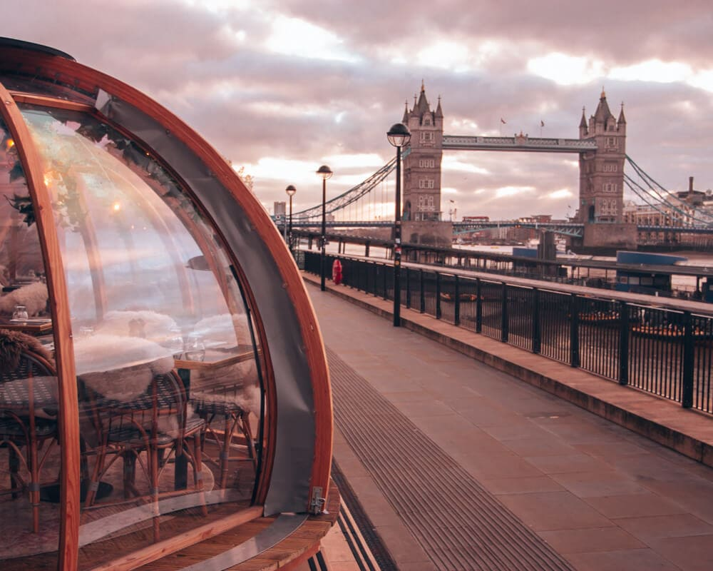 Coppa Club's igloos overlooking Tower Bridge are one of the best places to eat in London. Get a full 3 day London itinerary including the most Instagrammable places in London here.