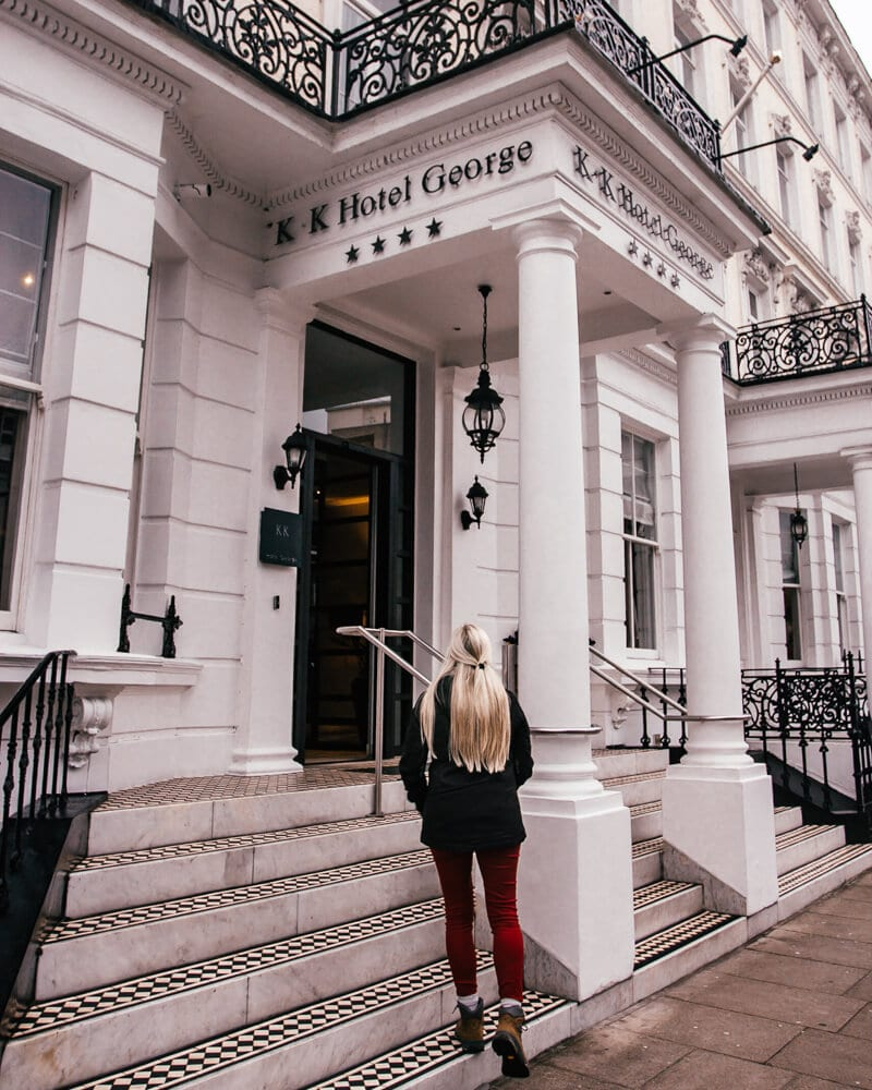 The front entrance at K & K Hotel George Kensington in London. Get the best places to stay in London with this 3 day itinerary.