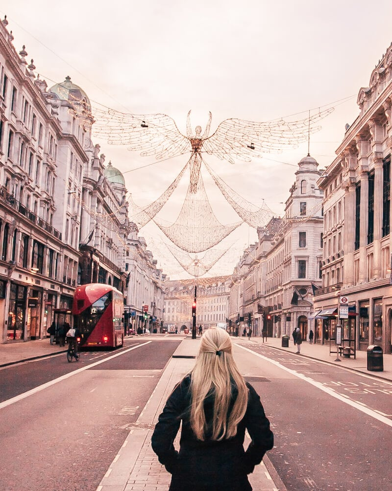 The angel Christmas lights on Regent Street at Christmas in London. Get all the best London travel tips in this 3 day London itinerary including all the most Instgrammable places in London.