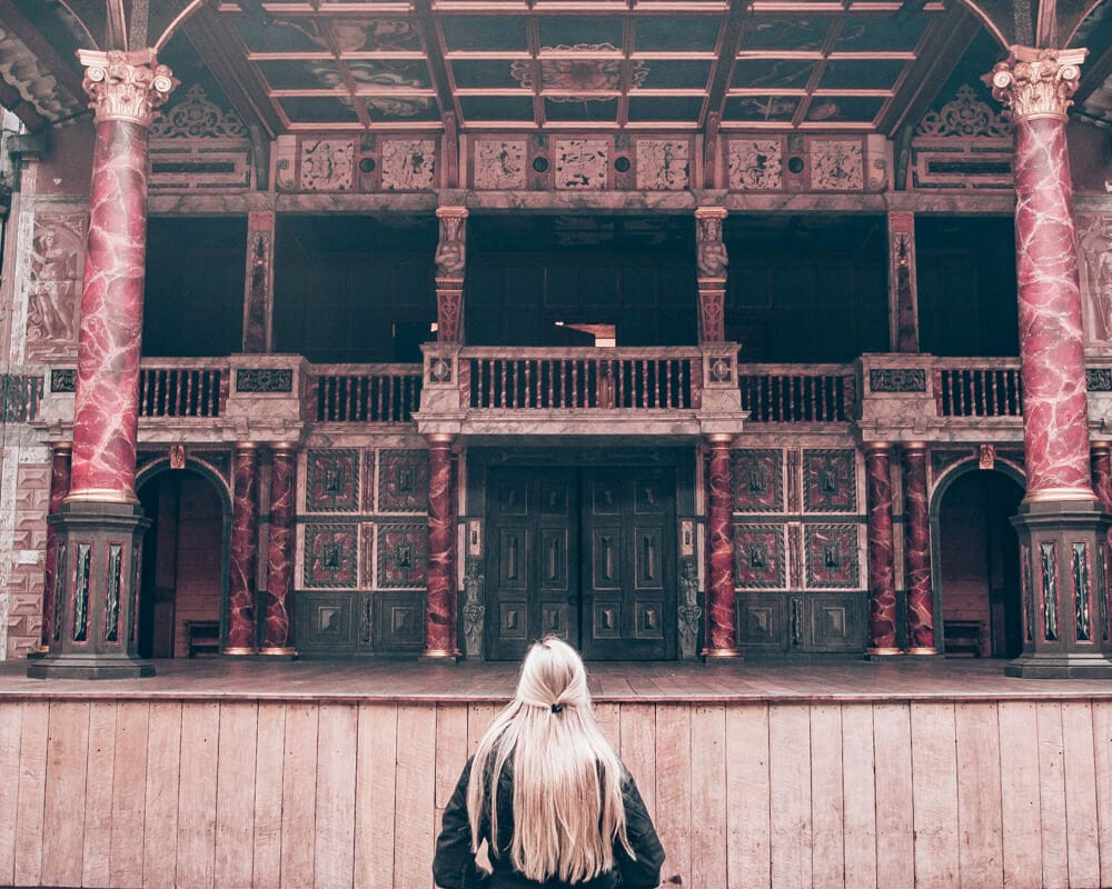 Inside Shakespeare's Globe where the groundlings would stand. Get a full 3 day itinerary for London here including tips for the most Instagrammable locations in London.