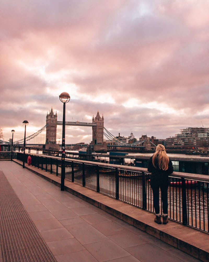 Tower Bridge from the walkway along the River Thames. Get a full 3 day itinerary for London here with a free map of all the best things to do in London.