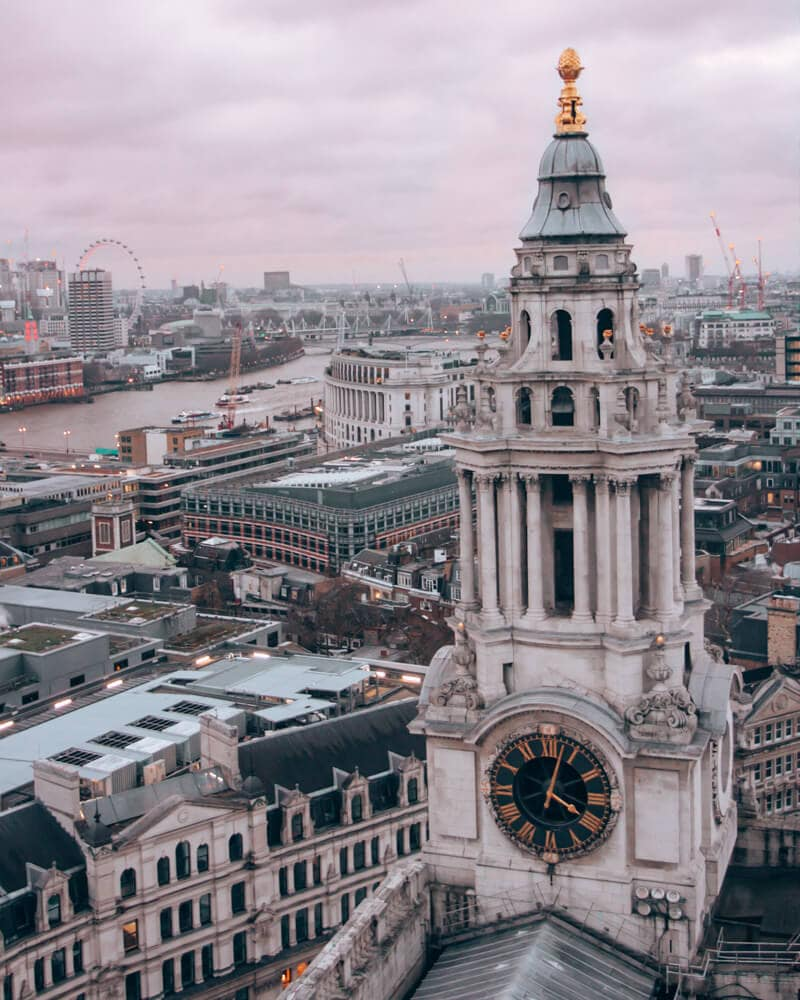 View of London from the dome at the top of St. Paul's Cathedral near sunset. Get the best itinerary for 3 days in London (+ a free map) here!
