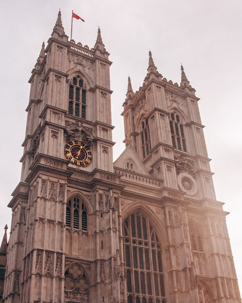 The front of Westminster Abbey at sunrise. For all the best London travel tips including a 3 day London itinerary, click here!