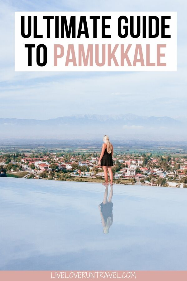 Woman standing on the edge of the Pamukkale thermal pools in Pamukkale, Turkey