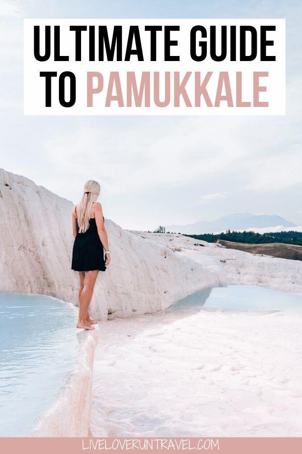 Women at Pamukkale travertines, thermal pools in Turkey