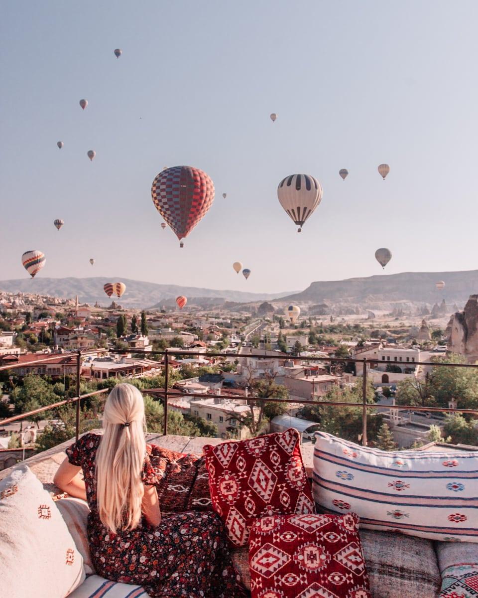 Watching a hot air balloon sunrise in Cappadocia.