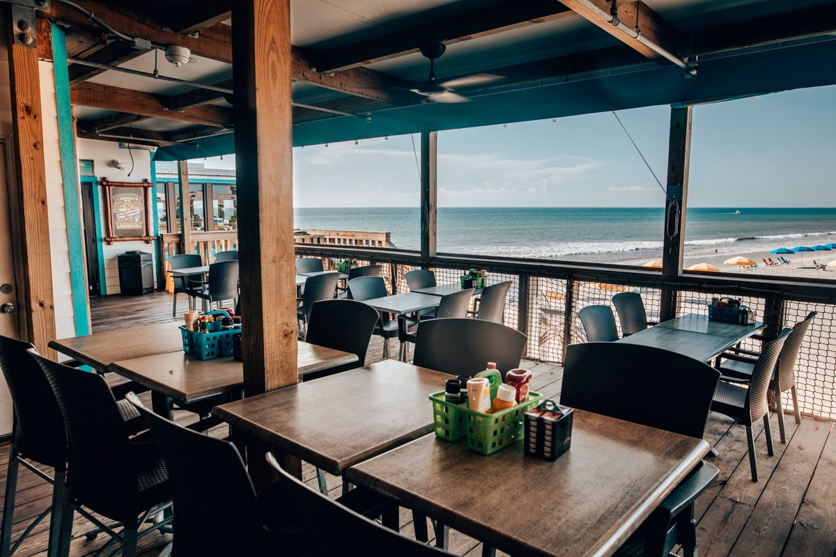 The Boardwalk Bar and beach view at Westgate Cocoa Beach Pier