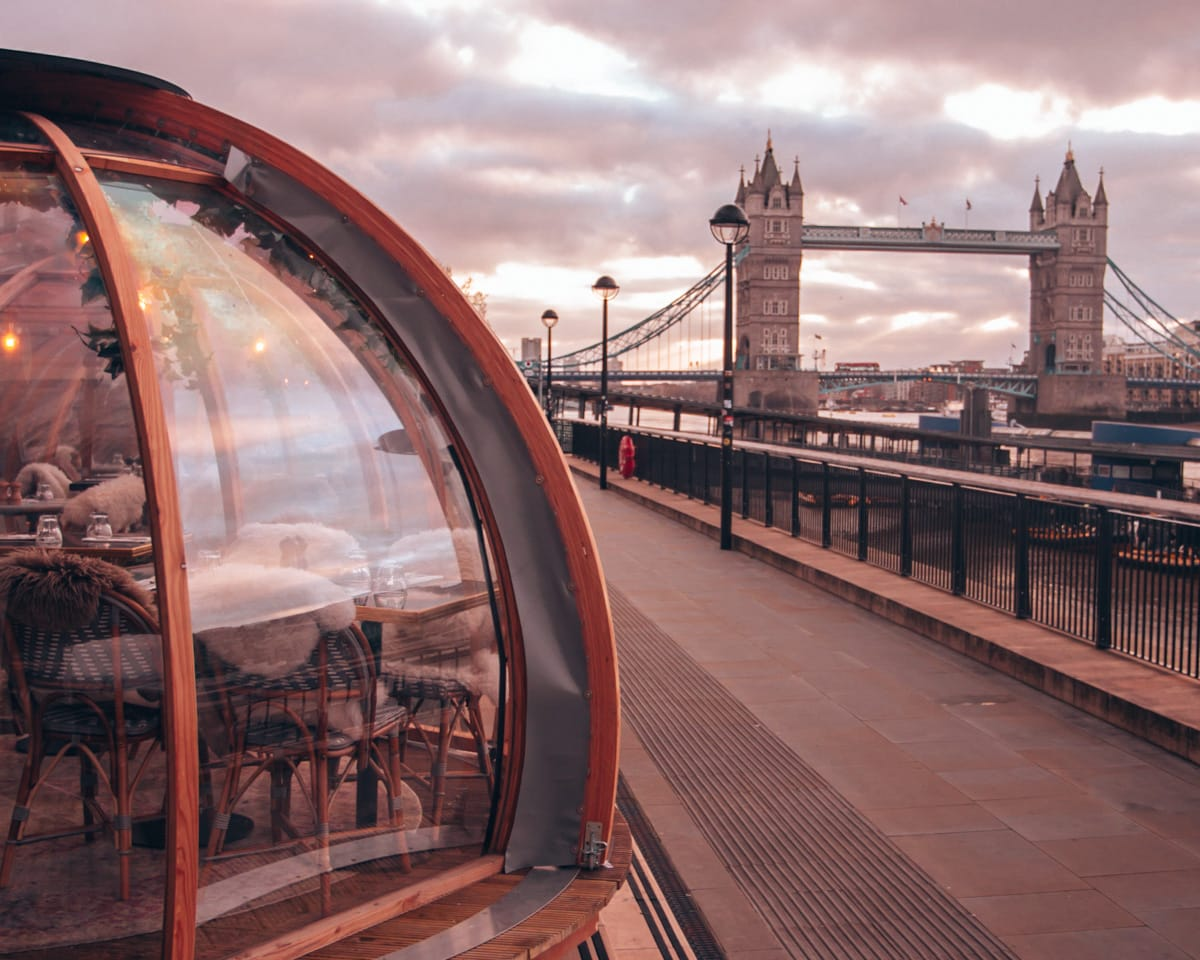 London's Coppa Club Tower Bridge igloos overlooking the famous Tower Bridge. Find all the best places to visit in London in December here (plus a free map!)