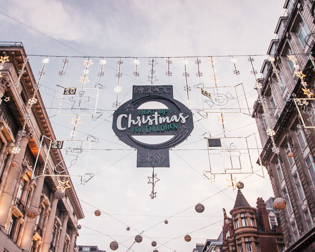 London's Oxford Street is one of the most popular streets for London Christmas lights. Click here for a full list of the best Christmas lights in London (+ a free map!)