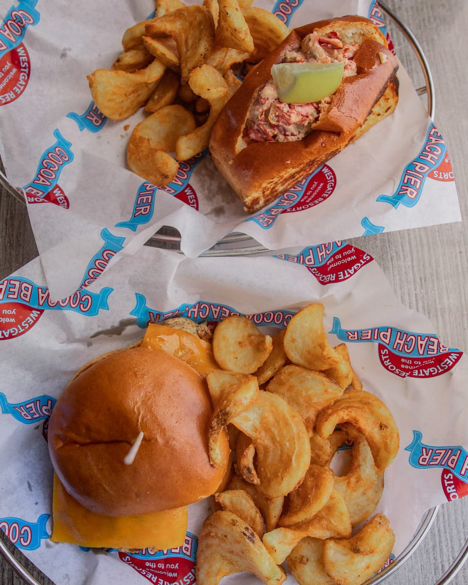 Lobster Roll and Chicken Sandwich at Pelican's Bar & Grille on the Westgate Cocoa Beach Pier