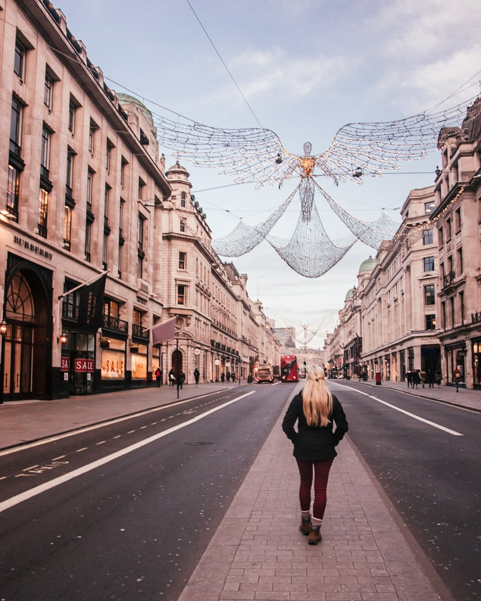 Regent Street's Christmas are some of the best in London with angels hung across the street. Check out all the best London Christmas lights here (+ a free map!)