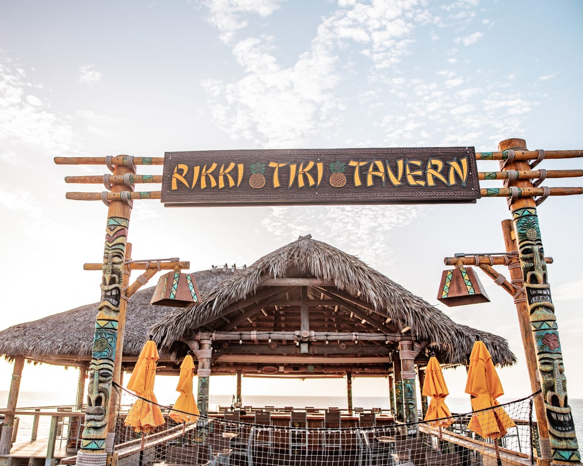 Rikki Tiki Tavern at the end of the Westgate Cocoa Beach Pier offers great food, drinks, and ocean views as it sits over the water.