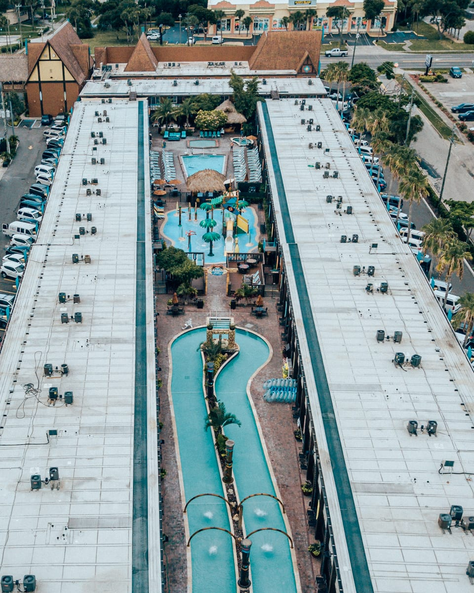 Wakulla Falls water park in the middle of Westgate Cocoa Beach Resort taken from a drone.