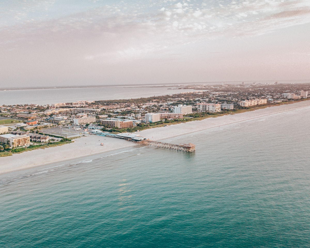 A drone shot of the Westgate Cocoa Beach Pier which extends 800 feet.
