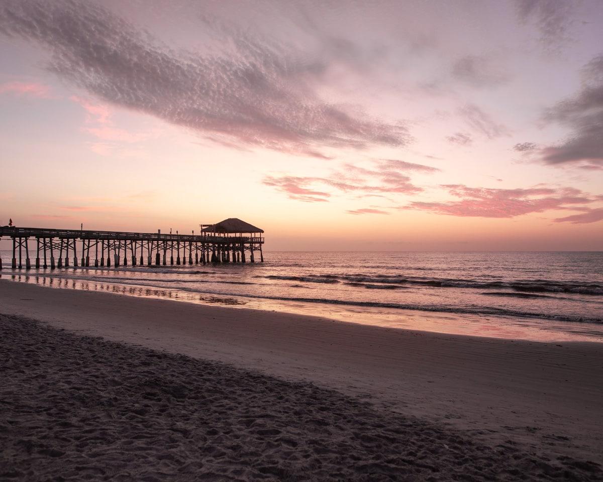 Sunrise at Westgate Cocoa Beach Pier in Cocoa Beach, Florida.